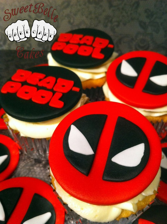 Fondant Deadpool Cupcake Toppers/ Decorations. Marvel Comics.