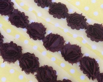 "Chocolate MINI Petite Shabby Chiffon Flowers beautiful 1.5"" Rose Trim rosettes wholesale DIY baby headband clip supply small dark brown"