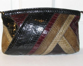 ANDE SNAKESKIN CLUTCH // 80's Purse Disco Party Diagonal Patchwork Stripe 70's Fall Snake Skin Burgundy Black Brown
