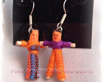 Miniature People Couple Love Worry Doll One (1) Pair Earrings