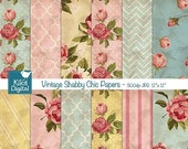 70% Sale Vintage Shabby Chic Digital Papers - Textured Scrapbooking Paper - card design, invitations, paper crafts - INSTANT DOWNLOAD