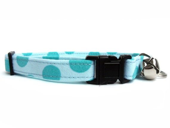Cat Collar, Small Dog Collar, DOTS in SEA, Handmade