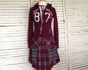 Burgundy Hoodie Coat XS, Upcycled Clothing, Hoodie and Flannel Duster Coat, Upcycled Hoodie