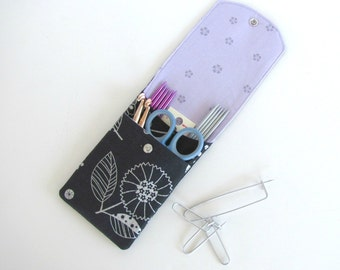 Knitting Needle Case, Crochet Hooks Holder, Notions Pouch Needles Organizer or Pencil Case