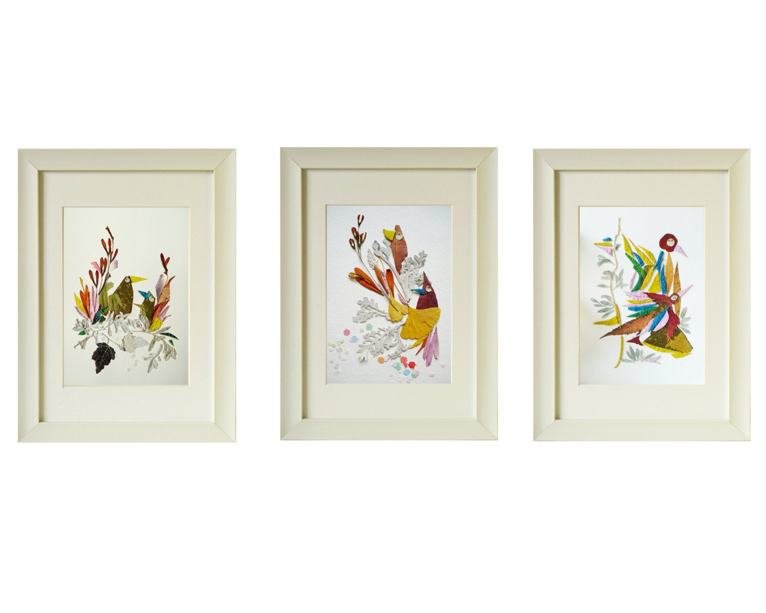 Wall Decor Set Of 3 : Triptych wall art set of prints birds pressed flower