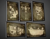 Skeletons Door Signs,Toilet, Bathroom,Laundry,Bedroom,skull,skeleton,gothic,home decor,original,funny,door decor