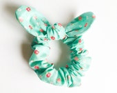 Bunny ear Bow Scrunchie pale green flower bouquet pony tail holder hair ties bun scrunchies by Love Factory handmade in New York with love