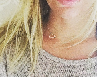 Hammered Open Heart Necklace, Tiny Heart Charm, Everyday Simple Jewelry