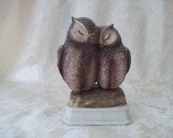 "Gorham Vintage ceramic owl couple music box Made in Japan 6"""