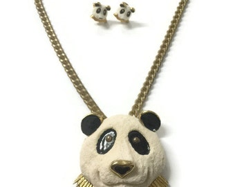 Vintage Razza Panda Necklace and Clip Earrings Set