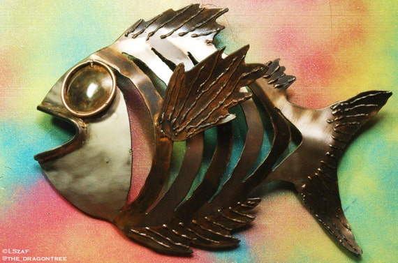 Lance the Lunker, Hand Made Metal Fish Wall Piece, 16""