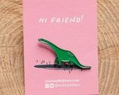 Dinosaur Pin / Green Dinosaur Enamel Pin - Illustrated