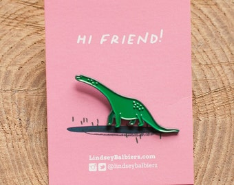 Dinosaur Pin / Green Dinosaur Enamel Pin - Illustrated