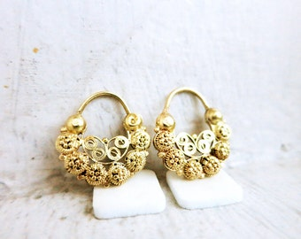Antique Creolla Earrings in Silver Gold Plated Finish from the Philippines