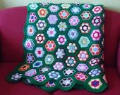 Green Crochet Blanket, Colourful Crochet Afgan Blanket, Handmade blanket, Granny Square blanket