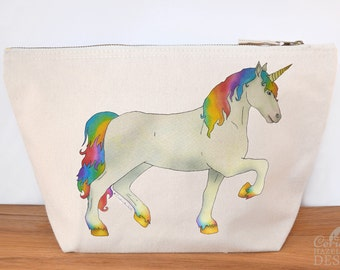 Unicorn Canvas Wash Bag, Large Zipper Pouch, Makeup Bag, Toiletry Bag, Accessory Bag