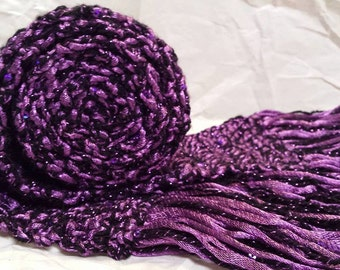 Deep Purple Scarf Royal Sparkle and Shine Fashion Metallic and Mini-Sequins with Fringe Crochet HandMade Extra Long 66 inches OOAK