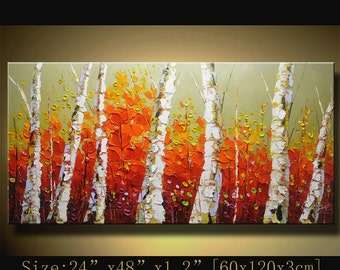 contemporary wall art, Palette Knife Painting,colorful tree painting,wall decor , Home Decor,Acrylic Textured Painting ON Canvas by Chen w30