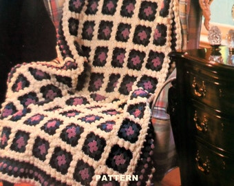 Granny Square Afghan Crochet Pattern, Adult Throw Blanket Pattern