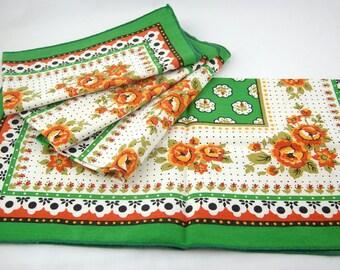Mid Century Cloth Napkins Set of 4, Vintage Fabric, Orange, Green, Black