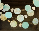 Map Garland, Paper Garland, Bon Voyage Party, Map Decoration, Hot Air Balloon Garland, Travel Theme Decoration, Made to Order, 10 feet long