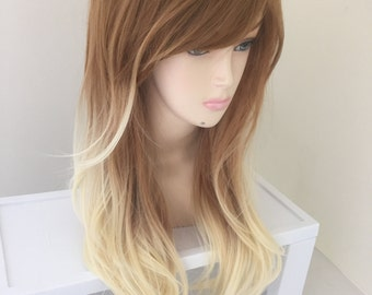 Dirty Blonde Ombre / Long Curly Layered Wig with Natural Scalp Piece Platinum Ombre