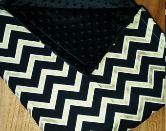 Baby Blanket Black Gold Chevron Minky Blanket Carseat Blanket Crib Blanket Stroller  Blanket