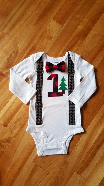 Lumberjack Baby Boy Tie Bodysuit With Suspenders By