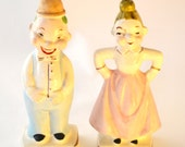 Novelty Salt & Pepper Shakers Husband Wife Bride Groom Happy Sad Vintage 1940s Collectible S P