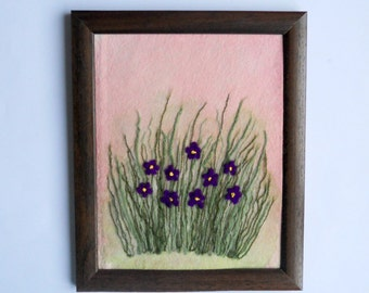fiber art wall hanging framed textile painting  felted picture