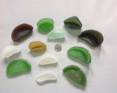 Genuine Bermuda Beach glass sea glass bottle bottoms jewelry supplies glass for crafts