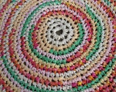"Sherbet Swirl Rug 34"" Crochet Rag Rug Round Large Cotton Washable Soft Handmade Log Cabin, Kitchen, Porch, Pink Primitive, Warm Colorful"