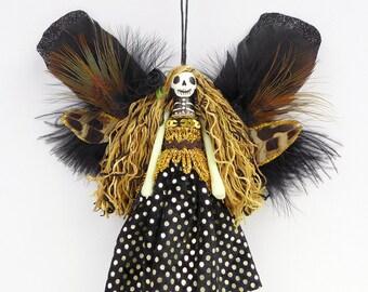 Dead Fairy Ornament, fairy peg doll, Day of the Dead fairy decoration