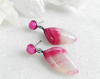 agate earrings, druzy earrings, oxidized silver, sterling silver, dangle earrings, pink druzy, post earrings, gifts for her