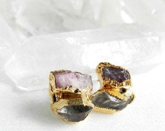 tourmaline earrings, diamond earrings, raw tourmaline, herkimer diamond, diamond studs, tourmaline studs, pink tourmaline, gold earrings