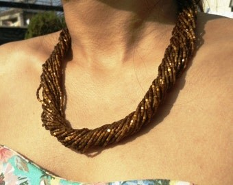 Chiffon Brown Multi-Strand Seed Beads Necklace,Nepal, Christmas, 16K Gold plated findings.