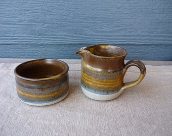 Vintage Studio Art Pottery Creamer and Sugar Container, Earth Tone Pottery