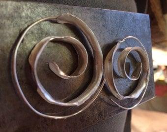 Spiral of life hoop earrings ~ Sterling silver earrings