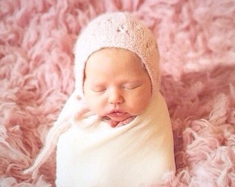 Vintage-Style Baby Bonnet with Seed Stitch and Eyelet Lace in 32 Different Colors///You Choose Size & Color///MADE TO ORDER