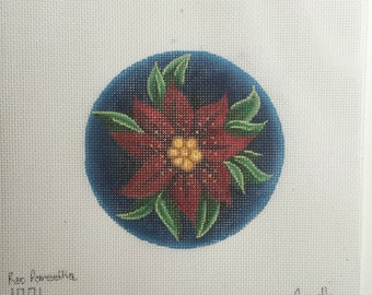 """Hand Painted Needlepoint canvas Red Poinsettias 4"""" Ornament"""