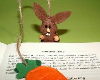 Bookmark West man carrot crafted from felt - bookmark - rabbit - carrot - felt