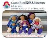 "Classic Sami Doll Pattern incl. clothes and shoe pattern 8"", 10"", 12"", 15"", 18"" and 20"" (All sizes) PDF INSTANT DOWNLOAD"