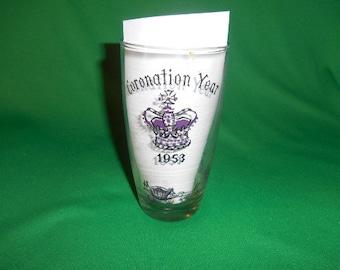 "One (1), 5 1/4"", 1953 Queen Elizabeth II Coronation, Souvenir Glass."
