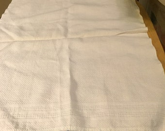White Linen Tea Towel with Blue Tatted Edges
