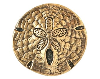 6 TierraCast Sand Dollar 11/16 inch ( 17 mm ) Gold Plated Pewter Buttons