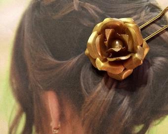 Gold Lisner Bridal Rose Pearl Hairpin Stick Fork (1) Vintage 1950 1960 Woodland Wedding