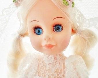 "ON SALE Vintage 1971 Uneeda Doll Co Inc. 11"" Bride Doll, Made In Hong Kong, Original Clothes, Blonde Hair, Blue Sleep Eyes, White Lace Weddi"