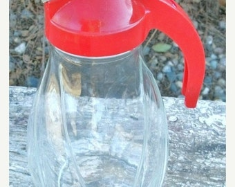ON SALE Vintage Large Hazel Atlas 1 Quart Syrup Dispenser Red Cover 1940s Glass Carafe Shabby Chic Cottage Chic Farmhouse Style