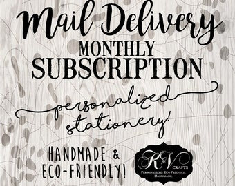 PERSONALIZED Monthly Mail SUBSCRIPTION - Stationery Stash - Custom Stationery - Eco Friendly - Recycled