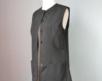 "Black Vest / Vtg 70s / ""Jack Winter"" Lined Black Vest / Buttondown /"